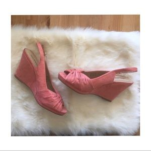 Call It Spring Coral Open Toe Sandal Wedges